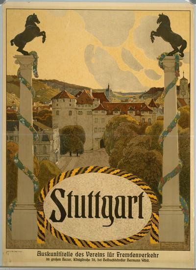 Stuttgart; Auskunftstelle des Vereins für Fremdenverkehr im großen Bazar