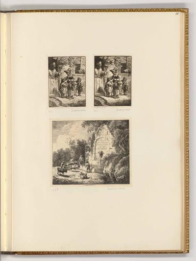 Titelblatt, Divers sujets d'après les desseins de Dietrich, gravés à l'eauforte par son eleve J.C.Klengel, 1773; Eine Frau mit zwei Kindern bittet um Geld