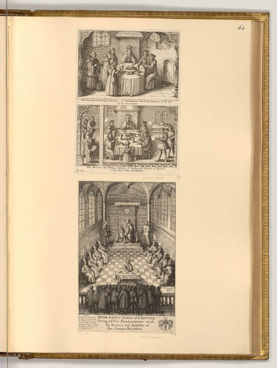 The manner of sitting at dinner, of Maximilian and Ferdinand; Hugh Lupus, Earl of Chester, sitting in his Parliament with their Barons and Abbots