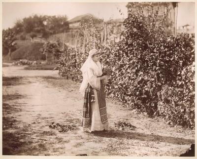 Junge Frau in Tracht mit einer Weinrebe in der Hand vor Weinstöcken stehend