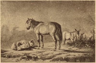 Landschaft mit Pferd, Esel und Schafe nach einer Tuschezeichnung von Hancock