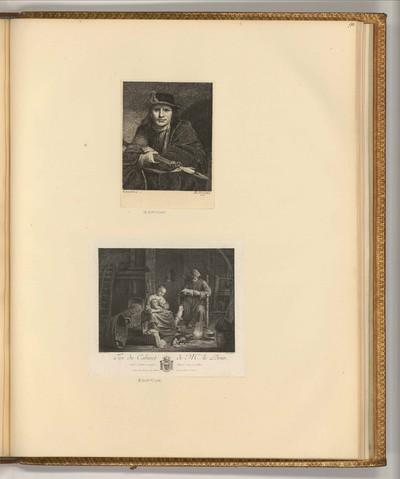 Mann mit Hut und Hellebarde; Interieur mit Bauernfamilie
