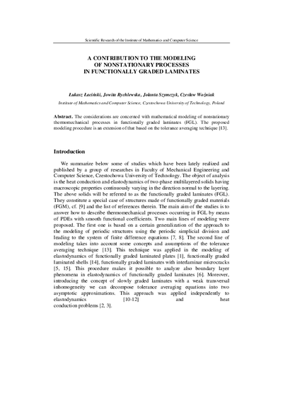 A contribution to the modeling of nonstationary processes in functionally graded laminates