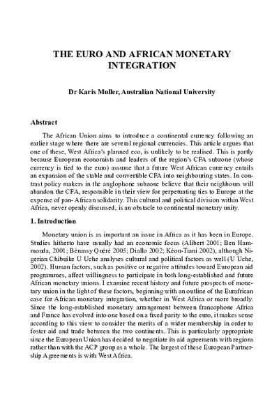 The Euro and African Monetary Integration