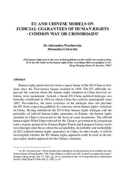 EU and Chinese Models on Judical Guarantees of Human Rights - Common Way or Crossroads?