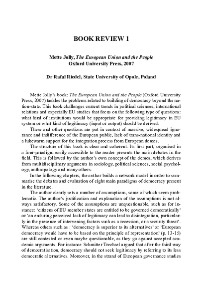 Book Review 1 - The European Union and the People by Mettle Jolly, Oxford University Press, 2007