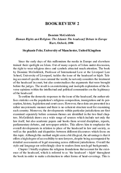 Book Review 2 - Human Rights and Religion: The Islamic The headscraft Debate in Europe by Dominic McGoldrick, Hart, Oxford, 2006