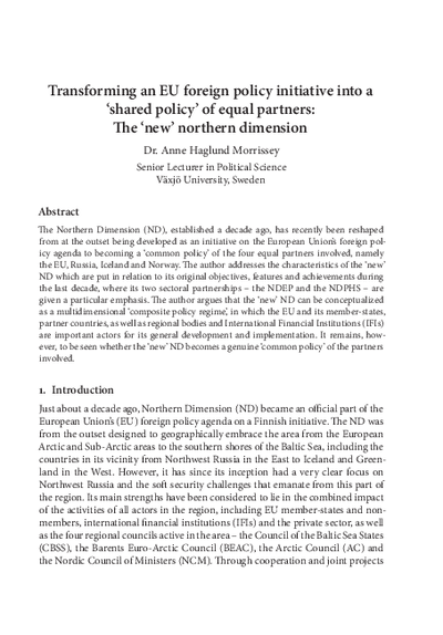 Transforming an EU foreign policy initiative into a 'shared policy' of equal partners: The 'new' northern dimension