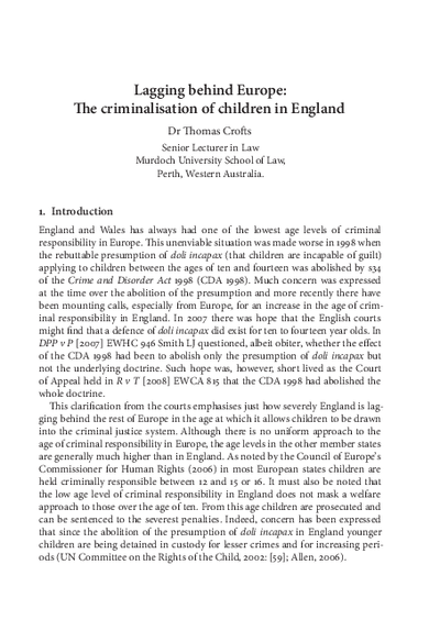 Lagging behind Europe: The criminalisation of children in England
