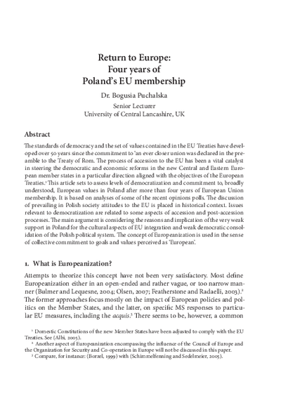 Return to Europe four years of Poland's EU membership