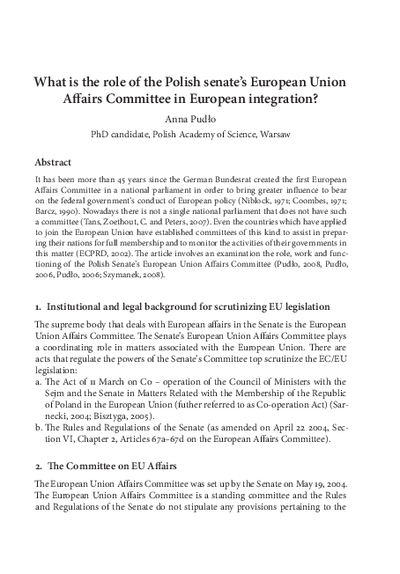 What is the role of the Polish Senate's European Union Affairs Committee in European Integration