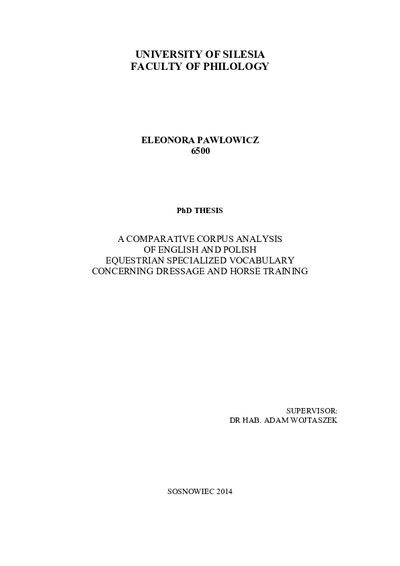 Comparative corpus analysis of English and polish equestrian specialized vocabulary concerning dressage and horse training