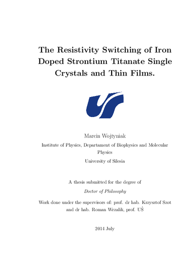 The resistivity switching of iron doped strontium titanate single crystals and thin films