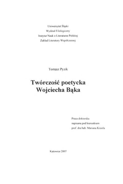 Twórczość poetycka Wojciecha Bąka