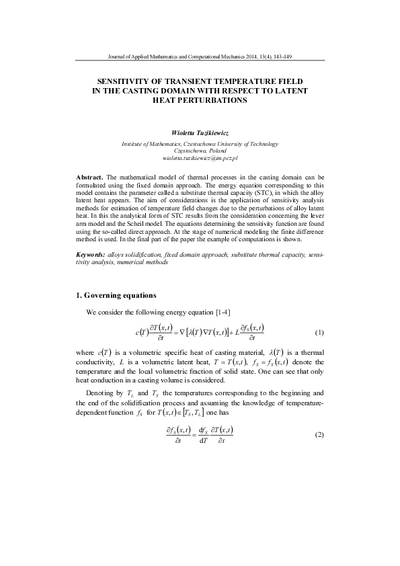 Sensitivity of transient temperature field in the casting domain with respect tolatent heat perturbations