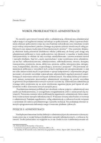 Wokół problematyki e-administracji