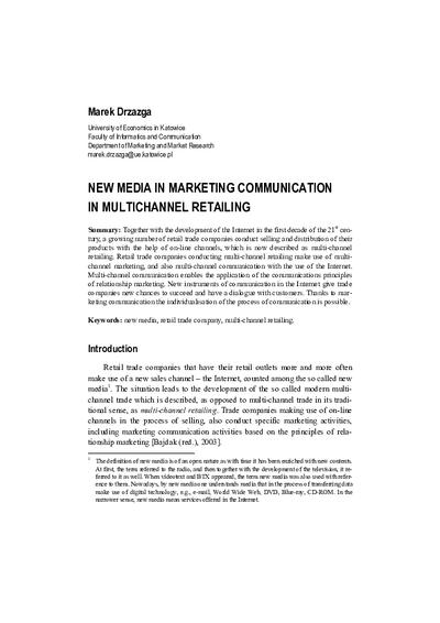 New Media in Marketing Communication in Multichannel Retailing