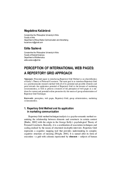 Perception of International Web Pages: a Repertory Grid Approach