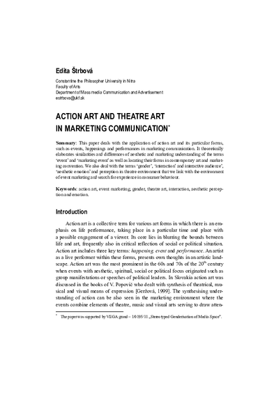 Action Art and Theatre Art in Marketing Communication