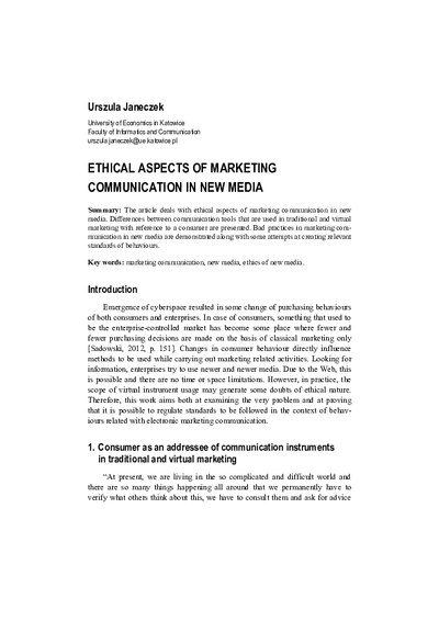 Ethical Aspects of Marketing Communication in New Media