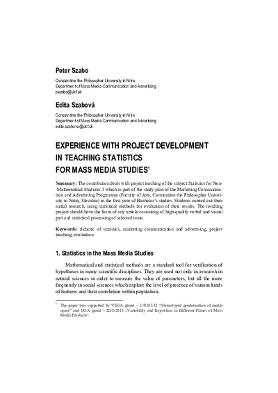 Experience with Project Development in Teaching Statistics for Mass Media Studies