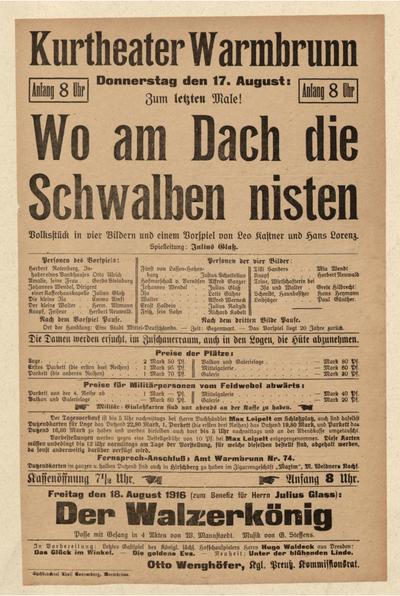Wo am Dach die Schwalben nisten. Volksstück in 4 Bildern. Donnerstag den 17. August 1916