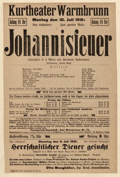 Johannisfeuer. Schauspiel in 4 Akten. Montag den 10. Juli 1916