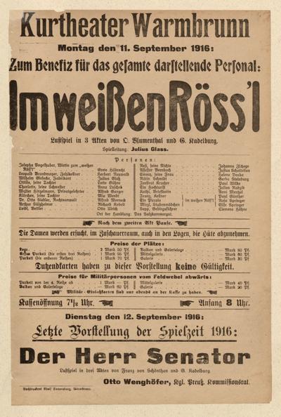 Im weißen Röss'l. Lustspiel in 3 Akten. Montag den 11. September 1916