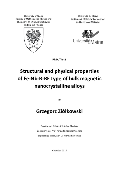Structural and physical properties of Fe-Nb-B-RE type of bulk magnetic nanocrystalline alloys
