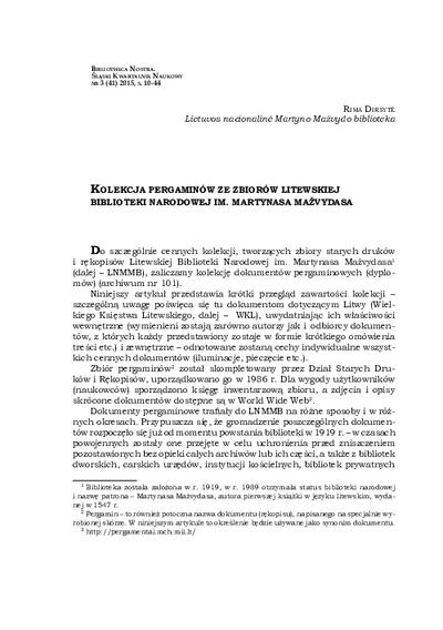 Kolekcja pergaminów ze zbiorów Litewskiej Biblioteki Narodowej im. Martynasa Mažvydasa