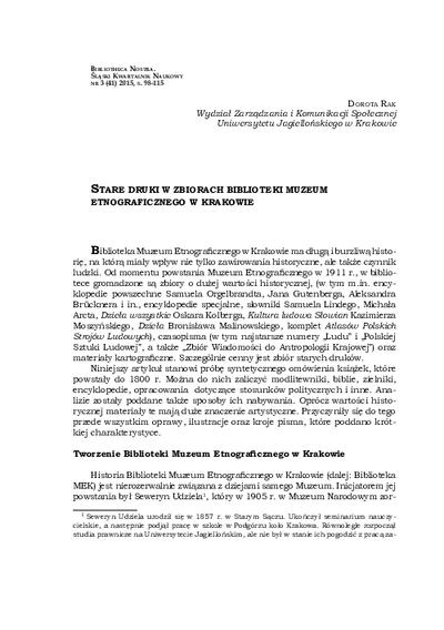 Stare druki w zbiorach Biblioteki Muzeum Etnograficznego w Krakowie