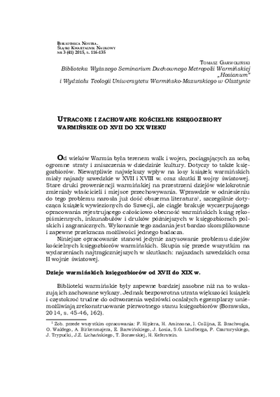 Utracone i zachowane kościelne księgozbiory warmińskie od XVII do XX wieku