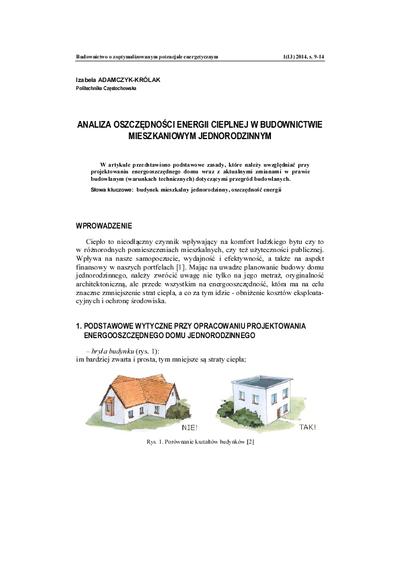 Analiza oszczędności energii cieplnej w budownictwie mieszkaniowym jednorodzinnym