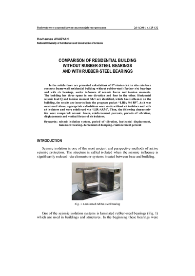 Comparison of residential building without rubber-steel bearings and with rubber-steel bearings