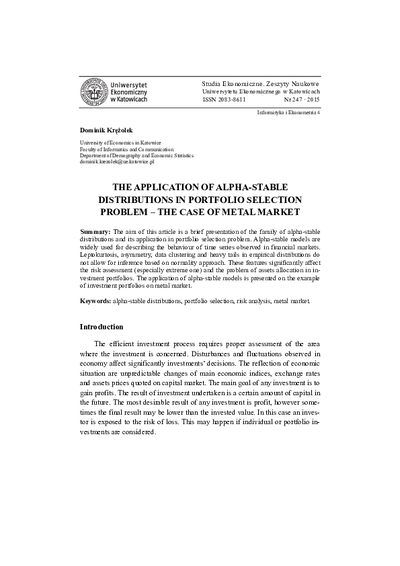 The Application of Alpha-Stable Distributions in Portfolio Selection Problem – the Case of Metal Market