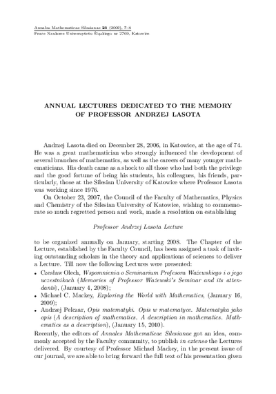 Annual lectures dedicated to the memory of Professor Andrzej Lasota
