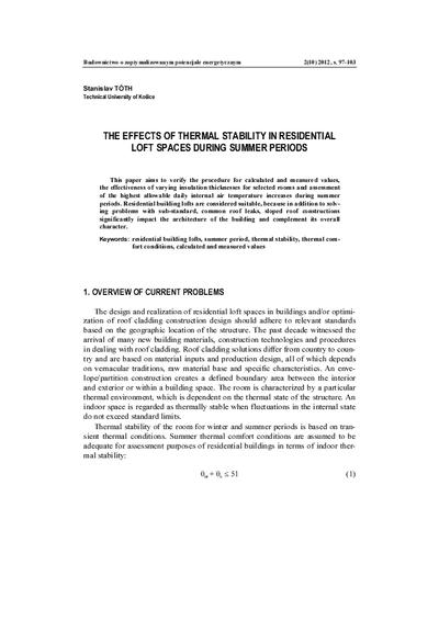 The effects of thermal stability in residential loft spaces during summer periods; Stateczność termiczna w loftach w okresie letnim