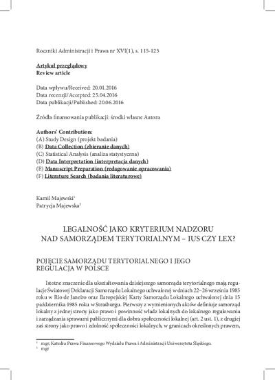 Legalność jako kryterium nadzoru nad samorządem terytorialnym – ius czy lex?