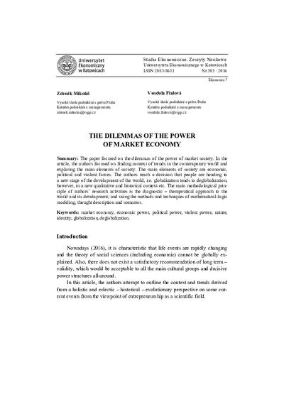 The dilemmas of the power of market economy
