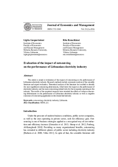 Evaluation of the impact of outsourcing on the performance of Lithuanian electricity industry
