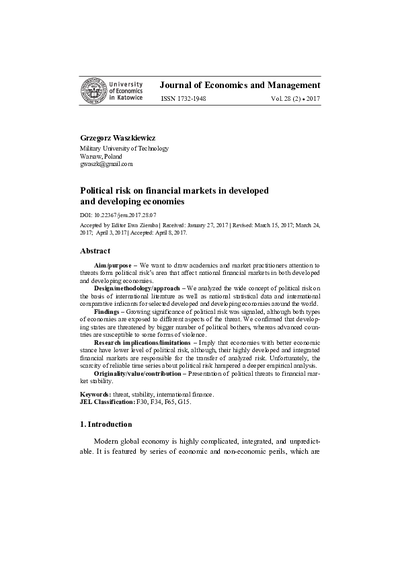 Political risk on financial markets in developedand developing economies