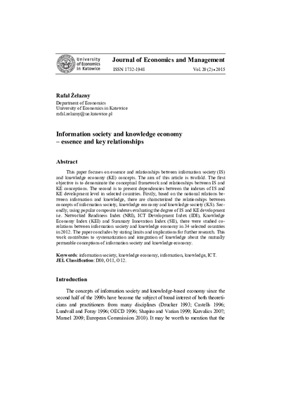 Information society and knowledge economy– essence and key relationships