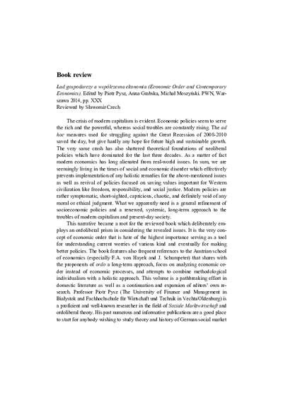 Book reviev: Economic Order and Contemporary Economics