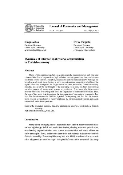 Dynamics of international reserve accumulation in Turkish economy