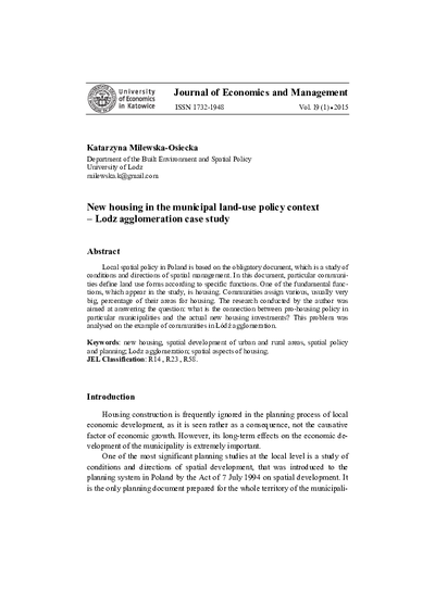 New housing in the municipal land-use policy context – Lodz agglomeration case study