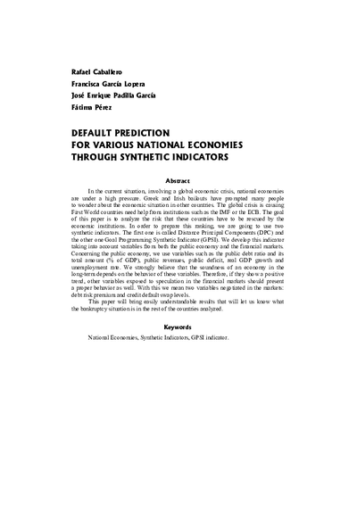 Default prediction for various national economies through synthetic indicators