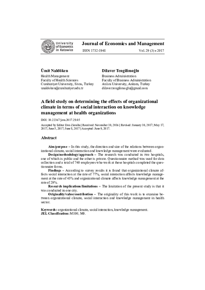 A field study on determining the effects of organizational climate in terms of social interaction on knowledge management at health organizations