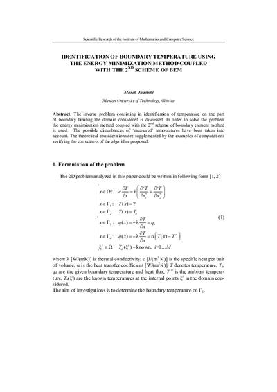 Identification of boundary temperature using the energy minimizationmethod coupled with the 2nd scheme of BEM