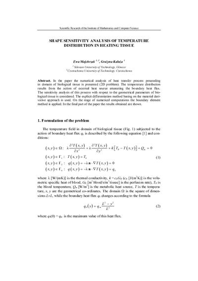 Shape sensitivity analysis of temperature distribution in heating tissue