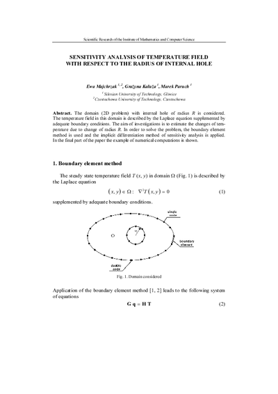 Sensitivity analysis of temperature field with respect to the radiusof internal hole